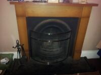 coal or log fire surround and marble health cast iron