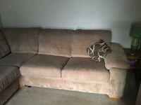 DFS Holden Brown Fabric left hand corner facing 3 seater sofa