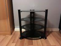 black glass tv hifi gaming multi tier stand