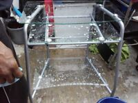 Clear Glass Computer Trolley