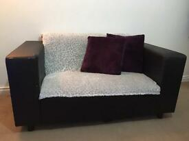 Black Leather Sofa - 2 x Seater