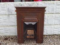 Cast iron fireplace / fire surround / mantle / cast insert / vintage / salvage / garden / fire