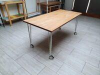 Ikea solid wood (beech) desk / table x 2 (legs with castors)