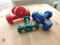 Set of Mini Dumbells for fitness training 0.5kg 1.5kg and 2.0kg - RRP £27