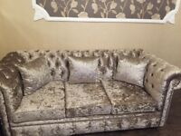 *BRAND NEW* crushed velvet mink/gold TWO 3 seater sofas selling price 1200 offer can be negotiated.