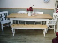 Stunning Pine Country Farmhouse 6½ft Table Chair and Bench Set.
