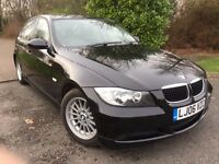 BMW 320 DIESEL TDI SE 06 REG IN BLACK WITH FULL SERVICE HISTORY AND MOT FEB 2018, 07867955762