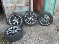 *** BBS ALLOYS 225X40x 18 UNMARKED APPROX 18 MONTHS OLD GOOD TREAD STILL LEFT DUNLOP TYRES THE BEST