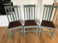 Three 'Annie Sloaned' dining chairs