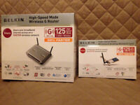 BELKIN 125 High Speed Mode Wireless G Router and Network Card Hardly used Will Post