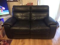 2 x 2 seater black leather reclining sofas