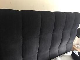 BLACK VELOUR DEEP BUTTONED OVERSIZED HEADBOARD.