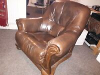 2 x leather brown armchairs