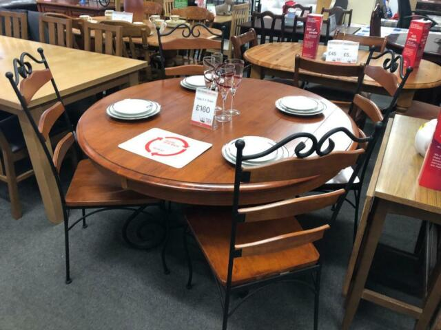 Bhf Solid Wood And Wrought Iron Round Dining Table 4 Chairs In Warrington Cheshire Gumtree