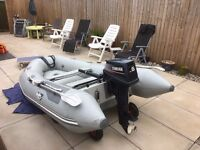 Achillies 8ft Dinghy c/w 6hp Yamaha outboard, also fuel tank etc