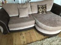 Gold corner sofa and swivel chair