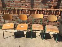 Vintage Green Metal Frame School Chairs Solid Plywood Dining Seats Seating Retro
