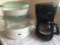 Tefal steamer and coffe machine delonghi