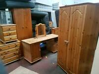 Pine furniture 2 wardrobes chest of dreaws computer table and bedside cabinet for sale