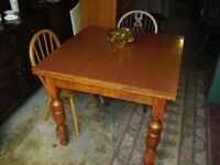 Retro Oak 1950's Extending Draw Leaf Formica Top Kitchen Dining Table