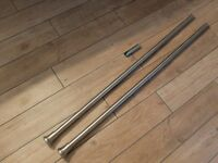 2.5 metre brushed stainless steel curtain pole with fittings and rings