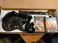 PlayStation Guitar Hero PS2 wireless guitar no dongle plus 2 games