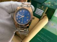 Rolex Datejust Rose gold with Blue Roman Numerals Dial