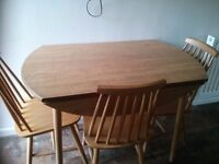Retro Wooden Circular drop leaf kitchen table and four chairs