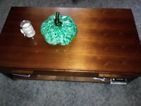 coffee table large with drawer and shelf brown solid wood modern only £50