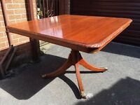 Mahogany Dining Table - Small Vintage Dining Table - Brass Claw Feet With Castors