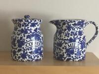 Burleigh blue coffee and milk jug