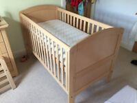 John Lewis Sofia Cot/Cotbed and matching chest of drawers/baby change table.