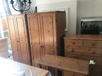 Solid pine bedroom furniture.