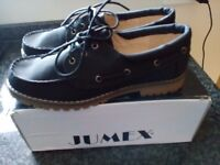 JUMEX LADIES BLACK BOAT LOAFERS SHOES SIZE 6 EU 40 BRAND NEW IN BOX