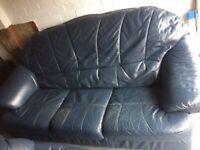 Leather 3 Piece Suite, Blue