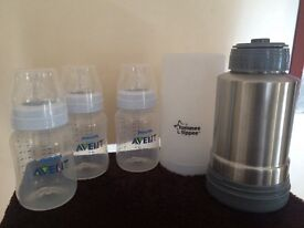 Tome tipped bottle warmer and Philips Avent bottles