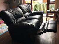 3 Seater + 2 Seater Black Sofas (recliners)