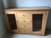 Sideboard and matching TV stand, good condition. Sturdy light wood.