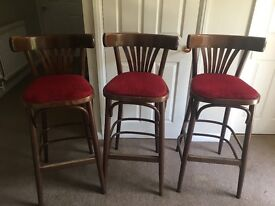 Wooden high chair type bar stools - red covers