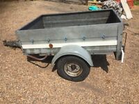 Car trailer 5x3 with manual tip and tailgate metal