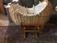 Woven wicker crib (mothercare)