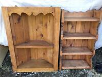 Two solid pine shelf units
