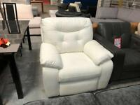 DFS Thrive white leather electric recliner armchair