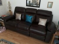 Brown Leather Sofa Suite 3 seater and 2 seater with manual recliner functionality