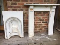 Antique Fire Surround Victorian Painswick Stone with carved corbels and Cast Iron Arched Fire Insert