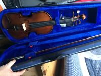 Beginners Violin, case and Music stand