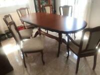 Beautiful Wooden Dining Room Table with 6 Chairs (2 Carvers)