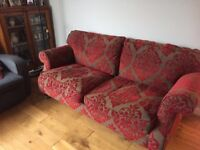 Red and brown 3 seater sofa