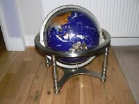 WORLD GLOBE MADE WITH GEMSTONES.FLOOR STANDING