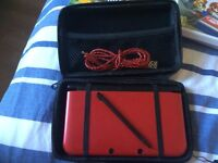 NINTENDO 3DS XL, RED, ORIGINAL PACKAGING, 4 GAMES, BOXED, PLUG ADAPTER, 2 USB CABLES, CARRYING CASE